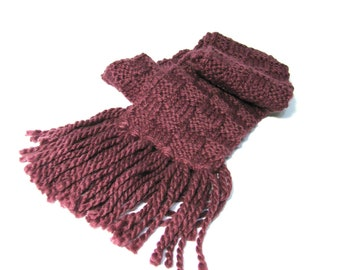 Sale Hand Knit Scarf. Knit Scarf, Eggplant Scarf, Purple Scarf, Gift For Her, Basket Weave Winter Scarf, Fashion Scarf, Fiber Art, Christmas