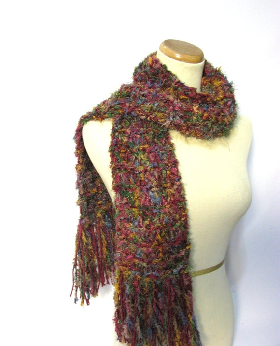 Sale Hand Knit Scarf - Color Blast - Raspberry Pink Gold Green Blue