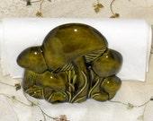 Green Mushroom Napkin Holder Vintage Porcelain