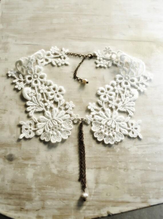 White Lace Collar/Collar necklace/Bridal collar/Bridesmaide necklace/Detachable collar/rusteam teamstyle/Lace fashion/bioteam