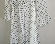 DRESS COCO of California sz 12 floor length white w chocolate brown DOTS vintage