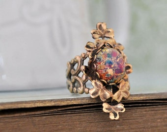 ENCHANTED FOREST - Victorian style clover brass ring with vintage pink opal glass cab