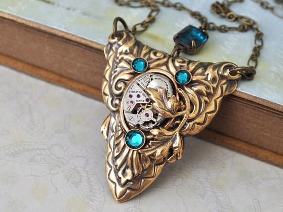 steampunk necklace DARK VICTORIAN victorian style brass necklace with 19 jeweled Elgin movement and Swarovski blue zircon rhinestones