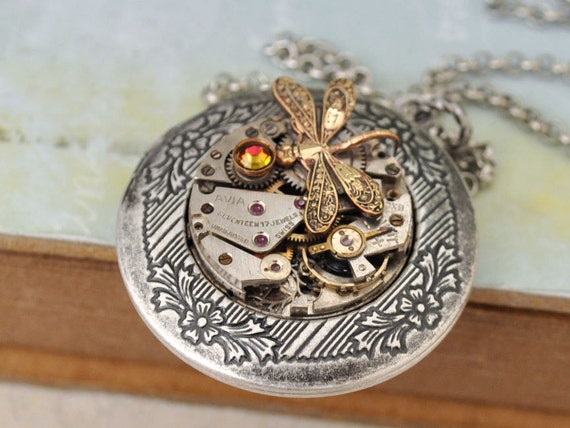 TIME TRAVELER steampunk antique silver watch movement photo locket necklace with tiny dragonfly