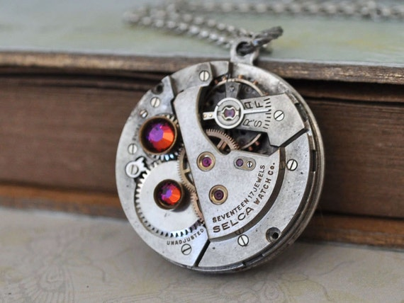 JE T'AIME antique silver steampunk watch movement 17 jeweled necklace with Swarovski rhinestones
