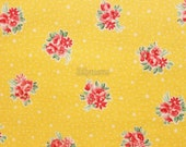 Mini bouquet and dot - Old new fabric collection - Yellow mix by Lecien - Printed in Japan