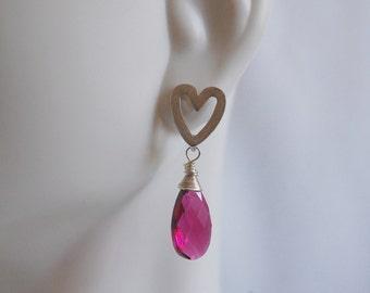 Hot Pink Quartz Dangle Earrings
