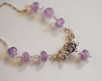 Gemstone Amethyst Necklace With flower connector - sterling silver Necklace