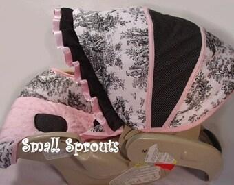Custom Boutique Black Toile Pink Infant Car Seat Cover 5 piece set