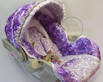 Custom 3D Rosette Roses Lilac Lavender With Damask Infant Car Seat Cover 5 Piece Set