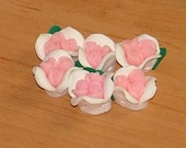 Pink and White Polymer Clay Rose Flower Beads 12mm