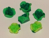 Green Polymer Clay Rose Flower Beads 12mm