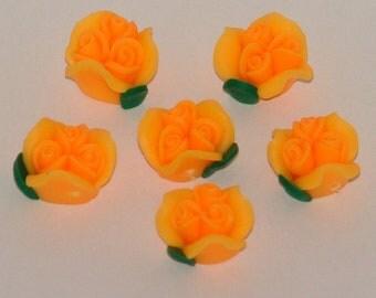 Orange Polymer Clay Rose Flower Beads 12mm