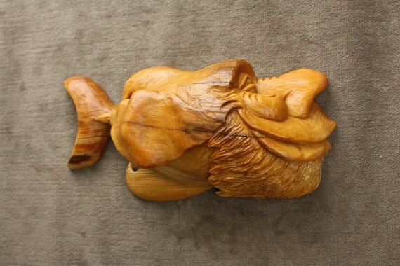 Fish Wood Carving Whimsical Art, Log Cabin Christmas Gift by Gary Burns the Treewiz, Handmade woodworking