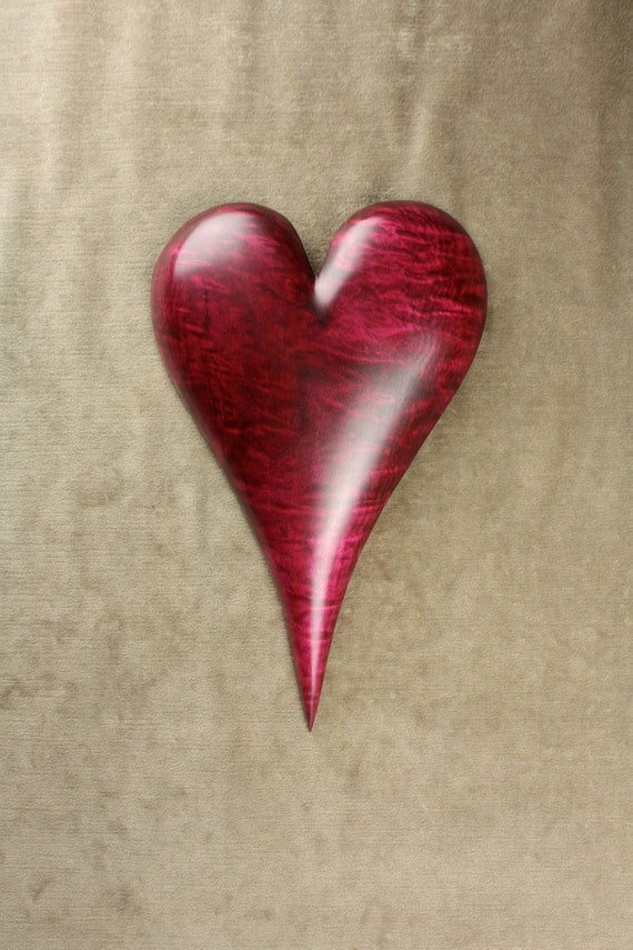 Red Heart Wood Carving on Etsy carved by Gary Burns the treewiz,  anniversary gift, wedding gift, woodworking