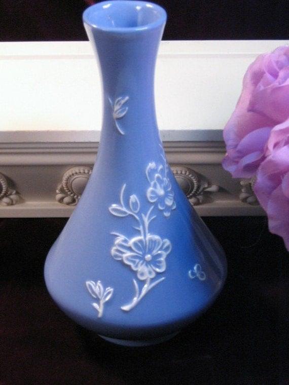 Vintage Stangl Pottery Blue Floral Applique Vase Mid Century