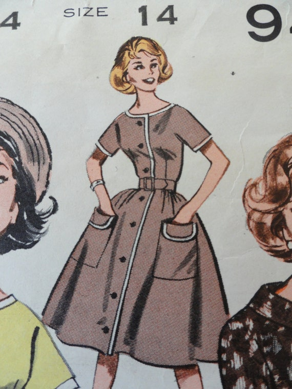 "Vtg 60s dress Butterick 9428 misses button front full skirt bust 34"" Mad Men fashion"