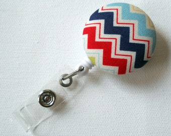 Chevron Red White Blue - Cute ID Badge Reel - Nurse Badge Holder - Nursing Badge Reel - Retractable ID Badge Reel - Teacher Badge - Nurse