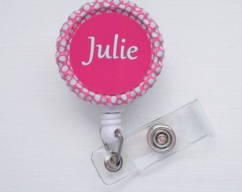 Personalized Pink Polka Dot Bottlecap/Bottle Cap ID Badge Reel (Retractable), handmade by JEJEWELED