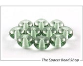 SALE 45% off - 7mm SPRUCE GREEN Tint Glass Lampwork Beads Spacer Handmade - The Spacer Bead Shop