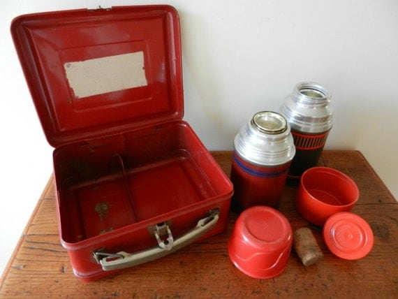 Vintage Red Metal Lunch Box with Two Thermoses