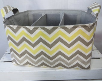 Diaper Caddy, baby caddy, baby organizer, diaper organizer, Fabric Basket bin, craft caddy with dividers 14 x 10 x 7