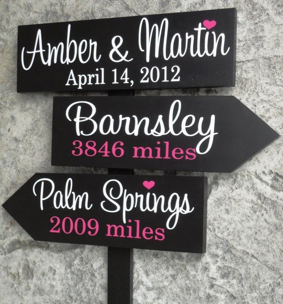Custom Directional Wedding Signs with Arrows,  Personalized, unique, wooden wedding or mileage sign for your Special Day.