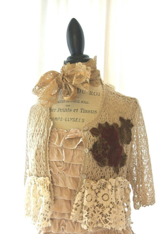 Gypsy cowgirl crochet shrug, country chic wrap, womens clothing, lace jacket, wrap, cottage chic, rustic, farmgirl
