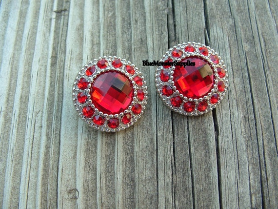 Set of 2 Red Rhinestone Buttons Scrapbooking Flowers Hair Bows