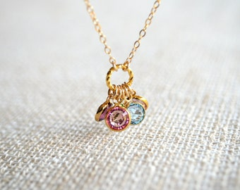 Birthstone Necklace in Gold - Up to 5 Swarovski Crystal Birthstones - Personalized, Mom, Kids, Children, Family, Grandchildren, Grandkids