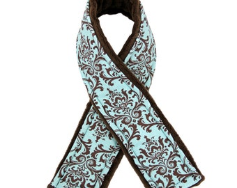 Camera Strap Cover- Signature Line Frenchy - French Blue with Chocolate Brown Minky Dot