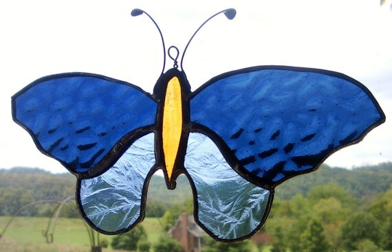 Butterfly Blue Stained Glass Pattern Design