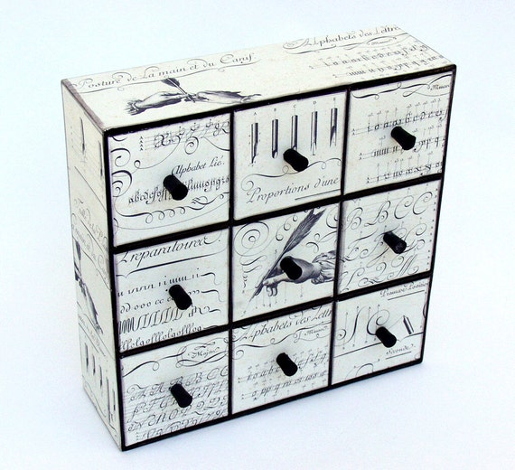 Black and  white calligraphy themed nine drawer storage unit for studio, office, kid's room, jewelry
