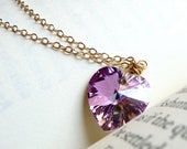 Lavender Heart Swarovski Crystal Necklace, Lilac Pink Heart Necklace, Gold Filled Chain Necklace