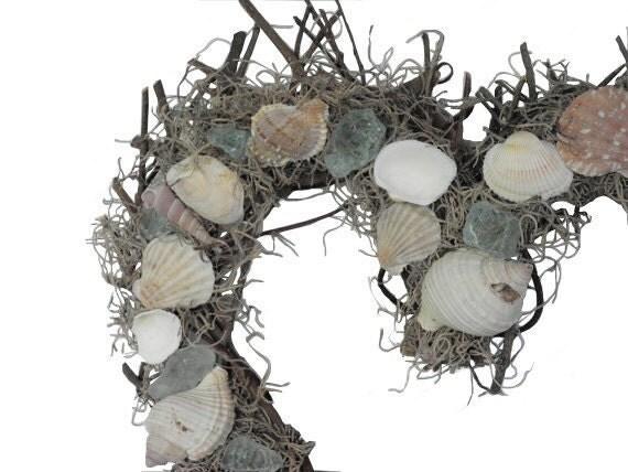 Wreath, heart shape with seashells and sea glass, coastal design, nautical decor, beach house, ocean theme