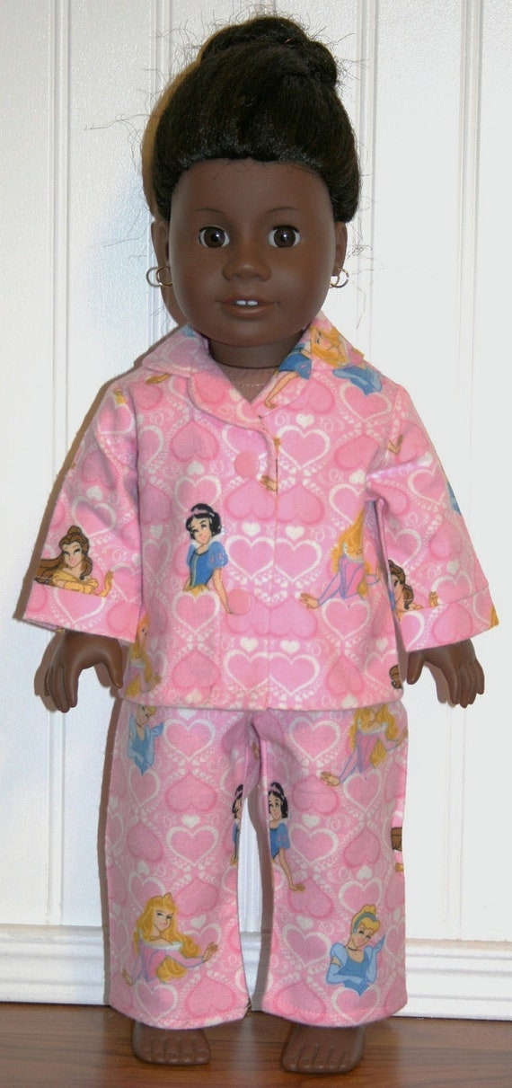 "American Girl Doll Clothes DISNEY PRINCESSES 'n HEARTS Flannel Pajamas for 18"" Dolls - Made in America"