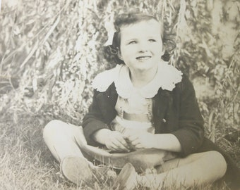 Vintage 1940s Photograph Little Girl Daydreaming Black and White 8 x 10 Picture Antique Photo