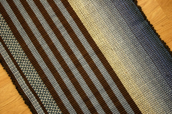 Hand Woven Cotton Rug in Brown and Light Blue / 2' x 3' Kitchen Rug