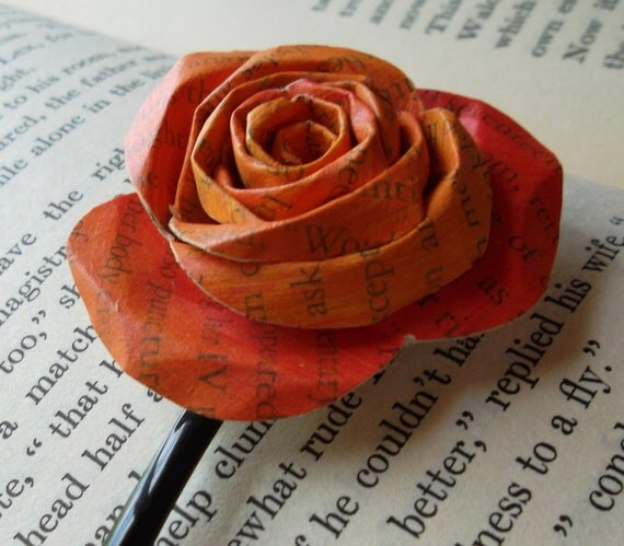 Orange and Red Book Page Flower Paper Rose Bobby Pin
