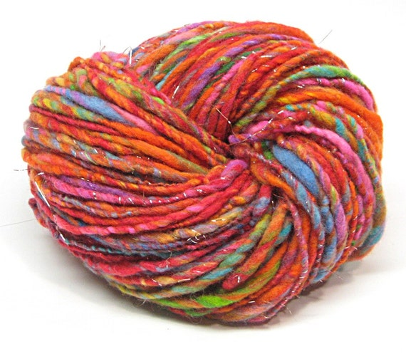 Felted yarn for doll hair, handspun and hand dyed merino wool with sparkly angelina- 89 yards, 2.8 ounces/ 81 grams