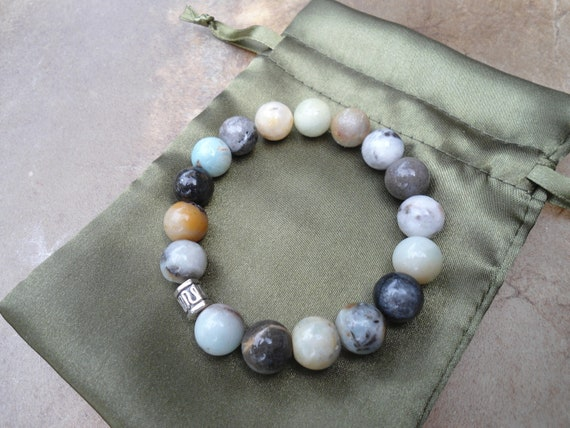 Men's Man's Yoga Bracelet Multicolor Amazonite Gemstone Japa Mala Bracelet Large Beads Under 30 dollars