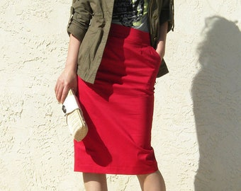 Sexy Pencil Skirt with Pocket - Red