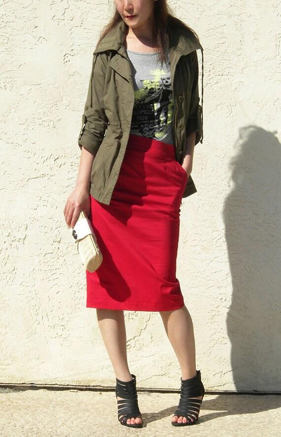 Sexy Red Pencil Skirt with Pocket, Tailored Skirt, Straight Skirt, Knee Length Skirt, Red Skirt, Office Skirt, Midi Skirt - Red