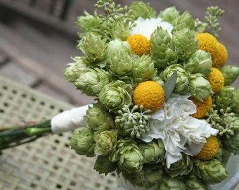 Bridal bouquet, hops with billy balls/ craspedia and white