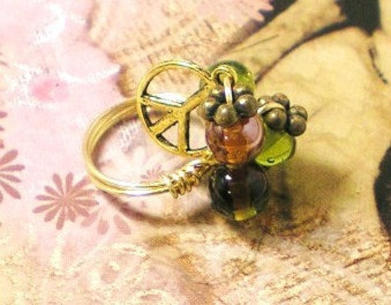 40% off - PEACE - Romantic Gold Wire Wrapped Cluster Dangle Ring Peace Sign Charm Purple Green Glass Bead Brass - Cocktail Statement