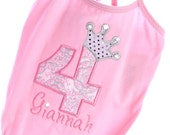 Elegant Platinum and Pink Princess Birthday Number or Letter with Rhinestone Crown Leotard Tee Shirt Onesie Dress Design Your Own