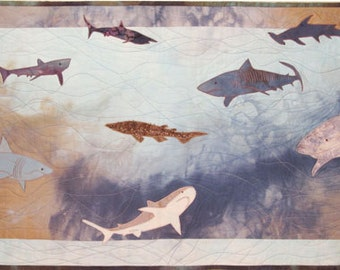 Sharks, a Machine Applique Pattern for a Small Quilt by Debora Konchinsky
