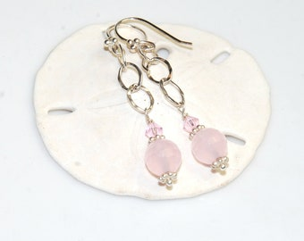 Rose Quartz Earrings - Pink earrings - Sterling Silver Chain Earrings - Gemstone Round Dangle