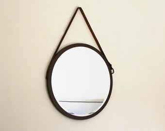 """Round Mirror in Brown. Mid-century Modern Mirror. Danish Mirror. Vintage Leather Belt Mirror. 16"""" x 16"""". Gift."""