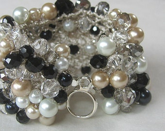 Elegant Wide Statement Wedding Cuff Bracelet, Black, Champagne, White Pearl, Smokey Crystal, Hand Kni